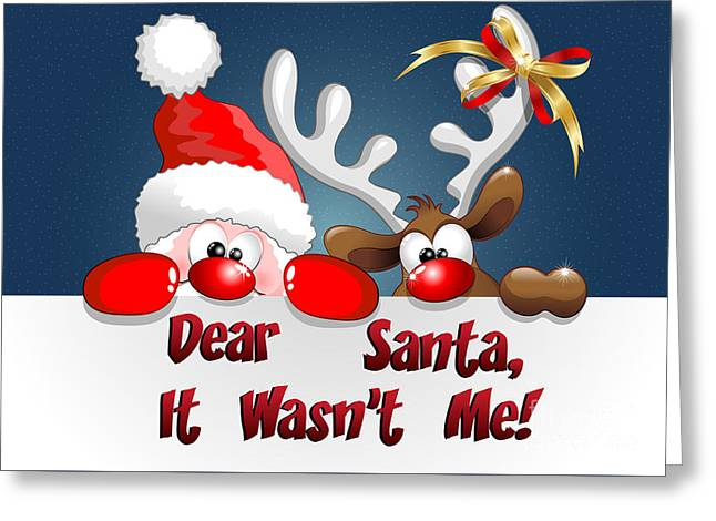 It Wasn't Me Santa Greeting Card