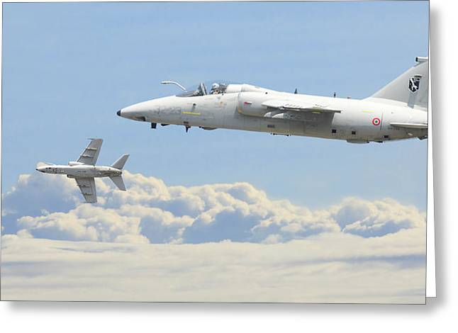 Greeting Card featuring the digital art Italian Air Force - Ghibli by Pat Speirs