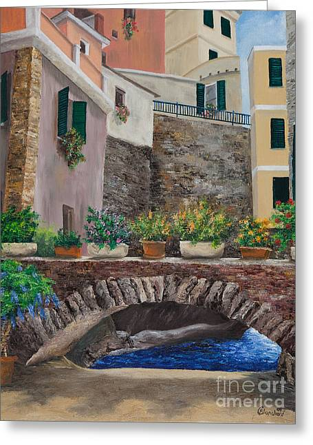 Italian Arched Bridge With Flower Pots Greeting Card by Charlotte Blanchard