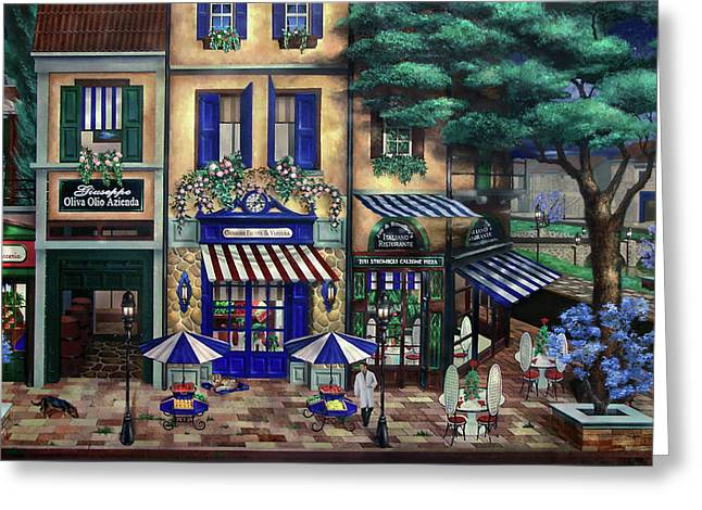 Italian Cafe Greeting Card by Curtiss Shaffer