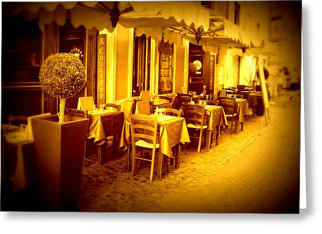 Italian Cafe In Golden Sepia Greeting Card by Carol Groenen