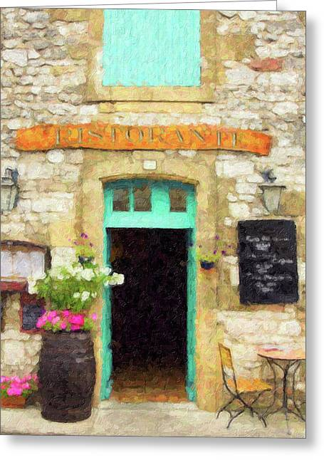 Italian Cafe Greeting Card by Rob Tullis