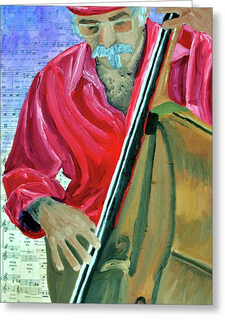 Chello Greeting Cards - Italian Chello Player Greeting Card by Michael Lee