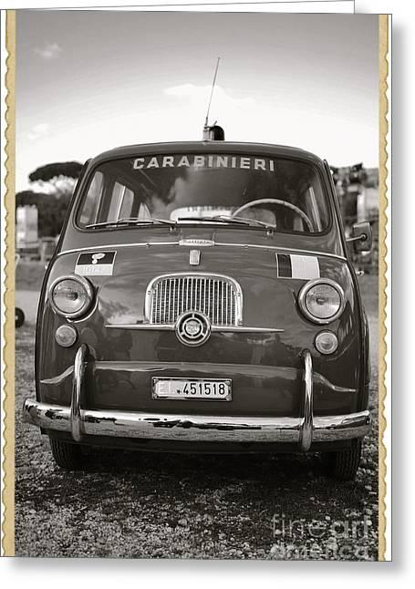 Fiat 600 Italian Classic Car Greeting Card by Stefano Senise