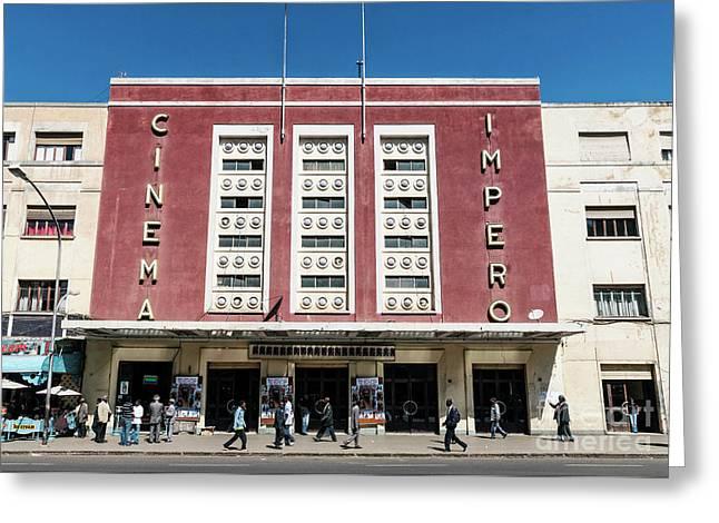 Italian Colonial Art Deco Old Cinema Building In Asmara Eritrea Greeting Card