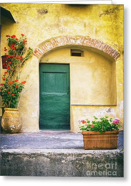 Greeting Card featuring the photograph Italian Facade With Geraniums by Silvia Ganora