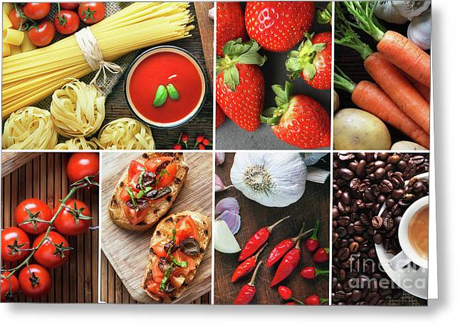 Italian Food Composition. Greeting Card by Bruno Haver