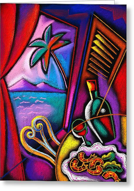 Menu Paintings Greeting Cards - Italian Food Greeting Card by Leon Zernitsky