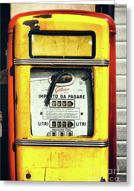 Italian Gas Pump Greeting Card by Silvia Ganora