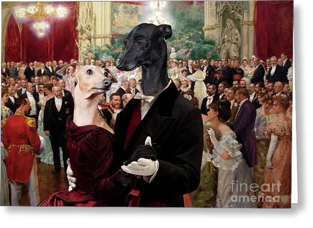 Italian Greyhound Art Canvas Print - Beautiful City Dance Hall Vienna Wilhelm Gause Greeting Card