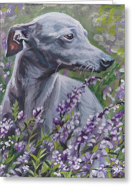 Greeting Card featuring the painting  Italian Greyhound In Flowers by Lee Ann Shepard