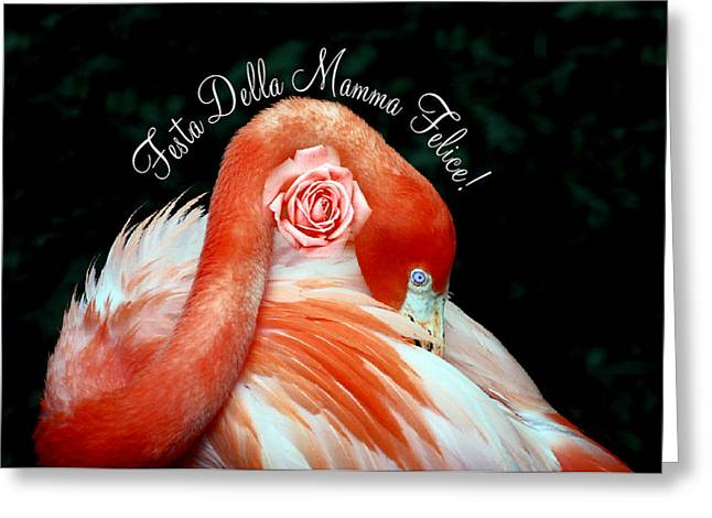 Greeting Card featuring the photograph Italian Happy Mothers Day Flamingo by Donna Proctor