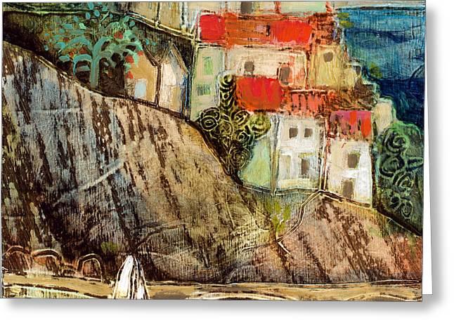 Italian Hill Town Greeting Card by Jen Norton