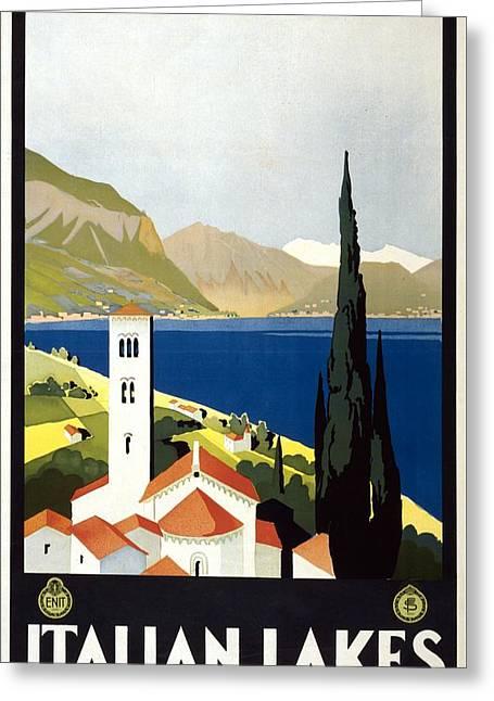 Italian Lakes - Vintage Travel Poster - Landscape Illustration Greeting Card