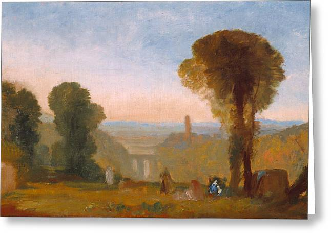 Italian Landscape With Bridge And Tower Greeting Card by Joseph Mallord William Turner