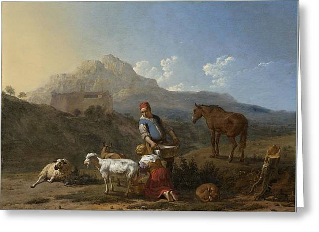 Italian Landscape With Girl Milking A Goat Greeting Card by Karel Dujardin