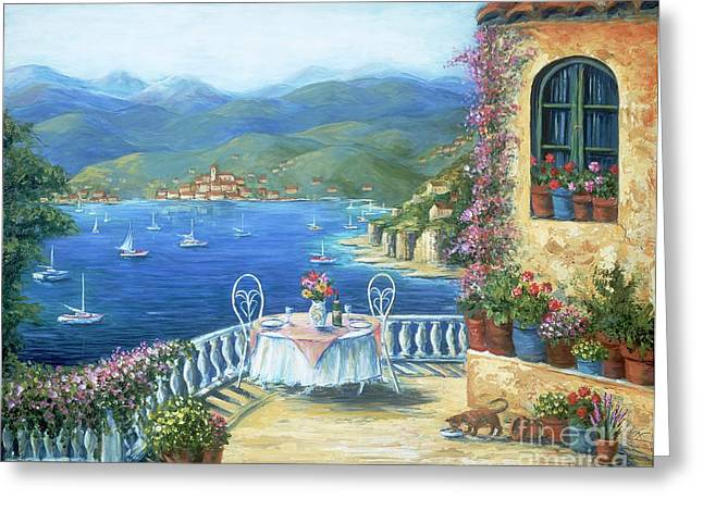 Blue Cat Greeting Cards - Italian Lunch On The Terrace Greeting Card by Marilyn Dunlap
