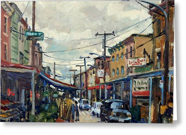 Italian Market Philadelphia Rainy Greeting Card by Thor Wickstrom