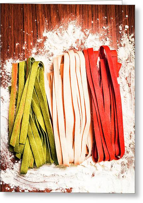 Italian Pasta In National Flag On Flour Greeting Card