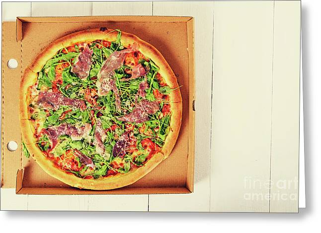 Italian Pizza With Green Fresh Rucola, Prosciutto Ham And Parmigiano Reggiano Greeting Card by Radu Bercan