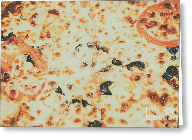 Italian Pizza With Mozzarella, Prosciutto, Tomatoes And Olives Greeting Card by Radu Bercan