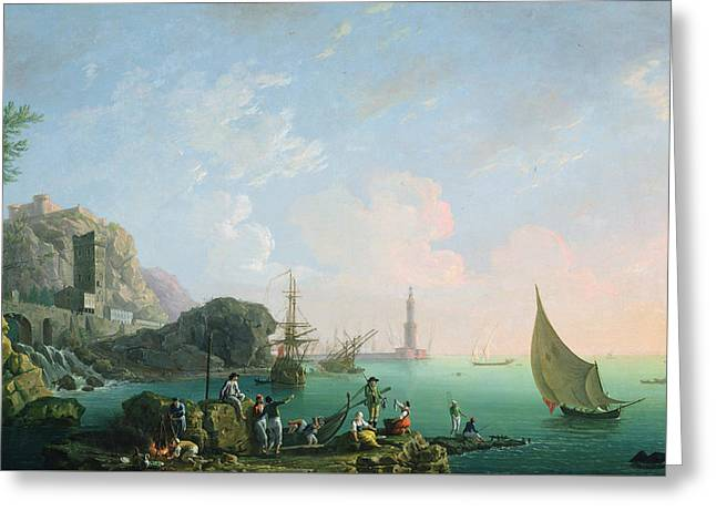 Italian Port Scene  Greeting Card by Thomas Patch