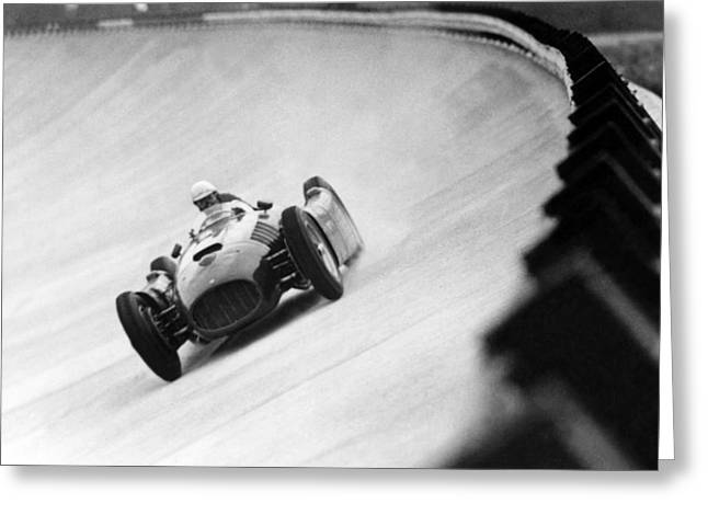 Italian Racing Driver Nino Farina Driving His Ferrari At Monza  Greeting Card