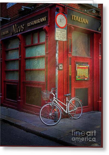 Greeting Card featuring the photograph Italian Restaurant Bicycle by Craig J Satterlee