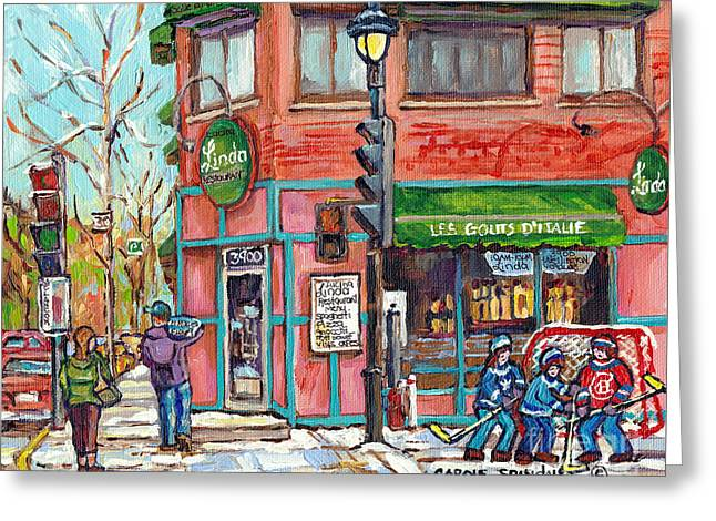 Italian Restaurant Linda Verdun Montreal Painting Winter City Scene Hockey Game Art Carole Spandau   Greeting Card
