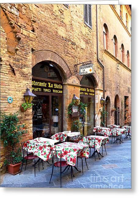 Italian Ristorante In San Gimignano Greeting Card