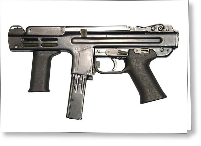 Single Greeting Cards - Italian Spectre M4 Submachine Gun Greeting Card by Andrew Chittock