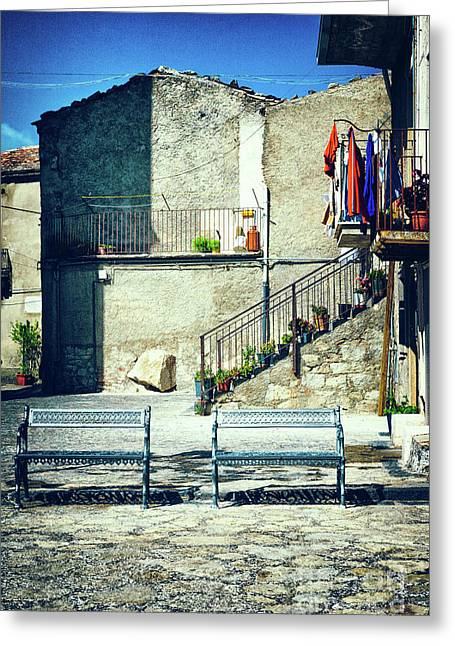 Greeting Card featuring the photograph Italian Square With Benches by Silvia Ganora
