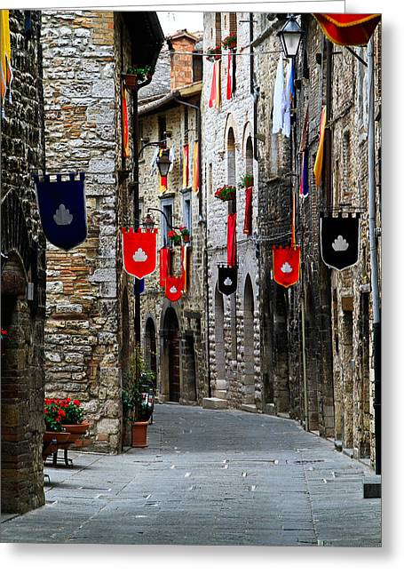 Italian Street Flags Greeting Card by Roger Mullenhour