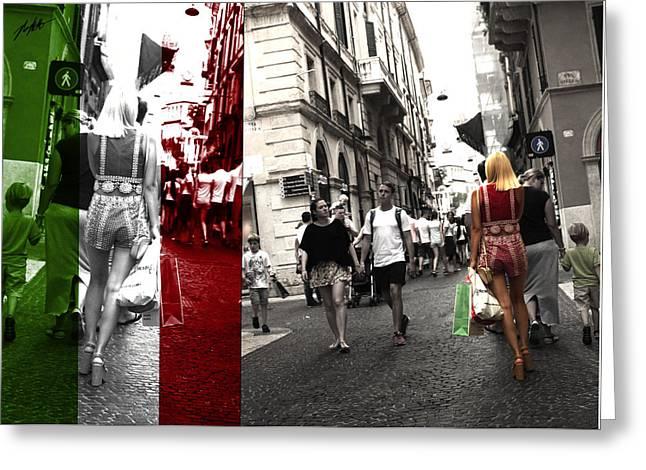 Italian Street Light Greeting Card by Nick Mattea