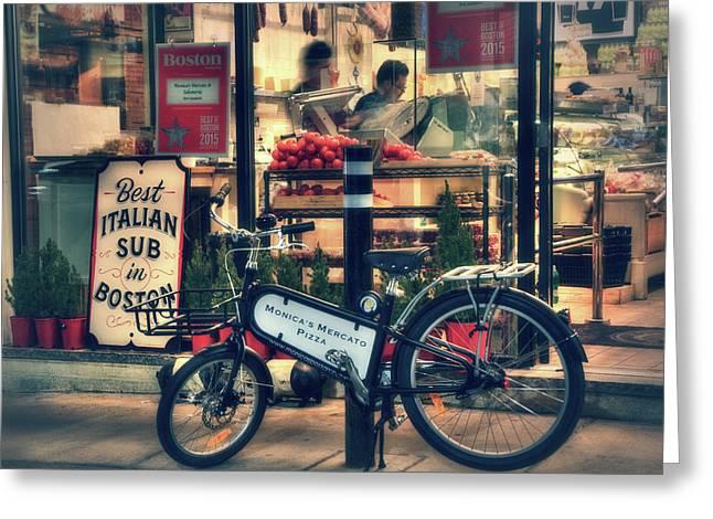 Italian Sub Shop - Monica's Mercato - Boston North End Greeting Card by Joann Vitali