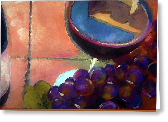 Italian Tile And Fine Wine Greeting Card by Lisa Kaiser