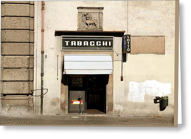 Italian Tobacconist Greeting Card by Valentino Visentini