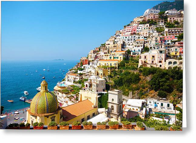 Panoramic Ocean Greeting Cards - Italian town of Positano Greeting Card by Francesco Riccardo  Iacomino