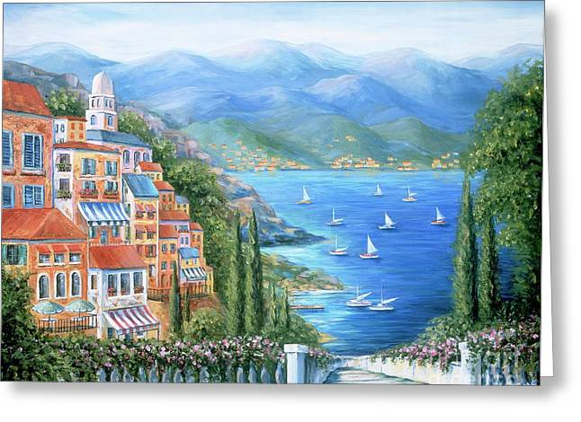 Europe Paintings Greeting Cards - Italian Village By The Sea Greeting Card by Marilyn Dunlap