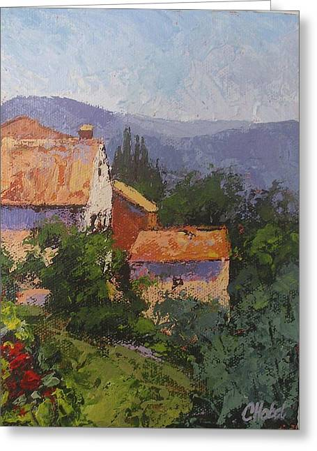 Greeting Card featuring the painting Italian Village by Chris Hobel