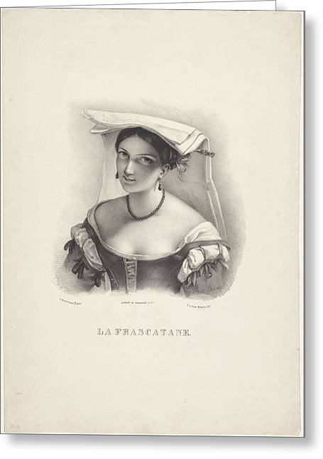 Italian Woman With Hood, Johannespost, After, 1821 - After 1848 Greeting Card by Celestial Images