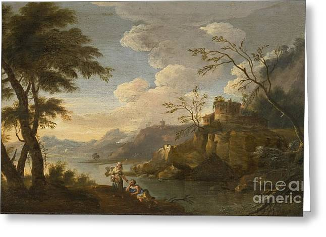 Italianate Landscape With Peasants Resting In The Foreground Greeting Card by Celestial Images