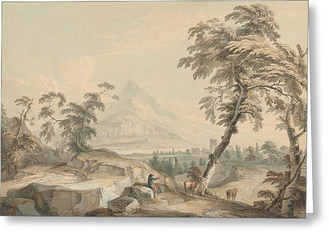 Italianate Landscape With Travelers, No. 1 Greeting Card by Paul Sandby