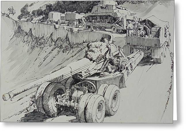 Greeting Card featuring the drawing Italy 1943. by Mike Jeffries