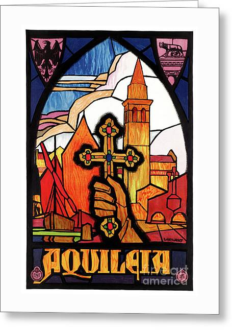 Italy Aquileia Restored Vintage Travel Poster Greeting Card