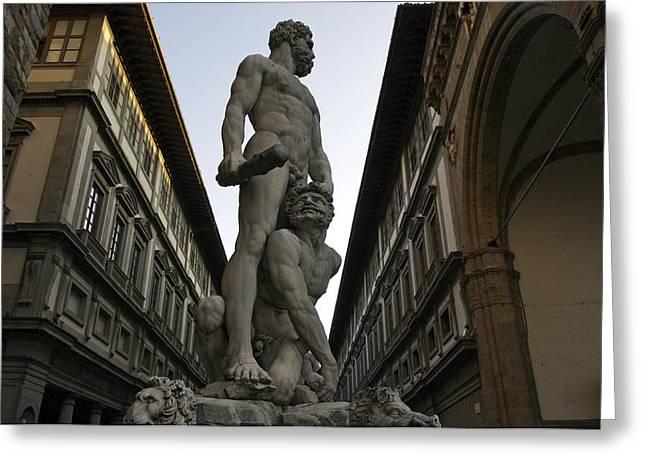 Italy, Florence, Sculpture Of Gercules Greeting Card by Sisse Brimberg & Cotton Coulson
