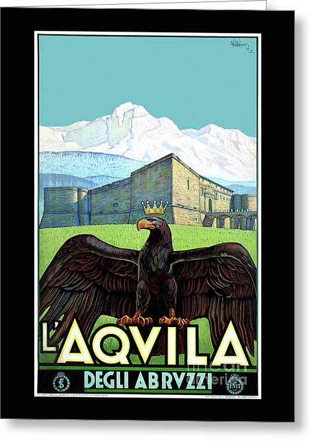 Italy L'aquila Restored Vintage Travel Poster Greeting Card