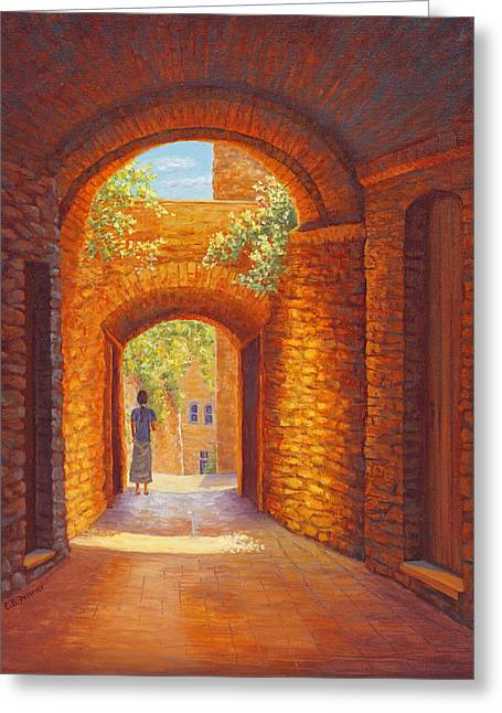 Italy Passages, San Gimignano, Tuscany Greeting Card by Elaine Farmer