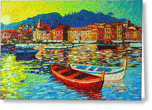 Italy Portofino Harbor Sunrise Modern Impressionist Palette Knife Oil Painting By Ana Maria Edulescu Greeting Card