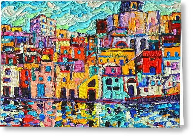 Italy Procida Island Marina Corricella Naples Bay Palette Knife Oil Painting By Ana Maria Edulescu Greeting Card